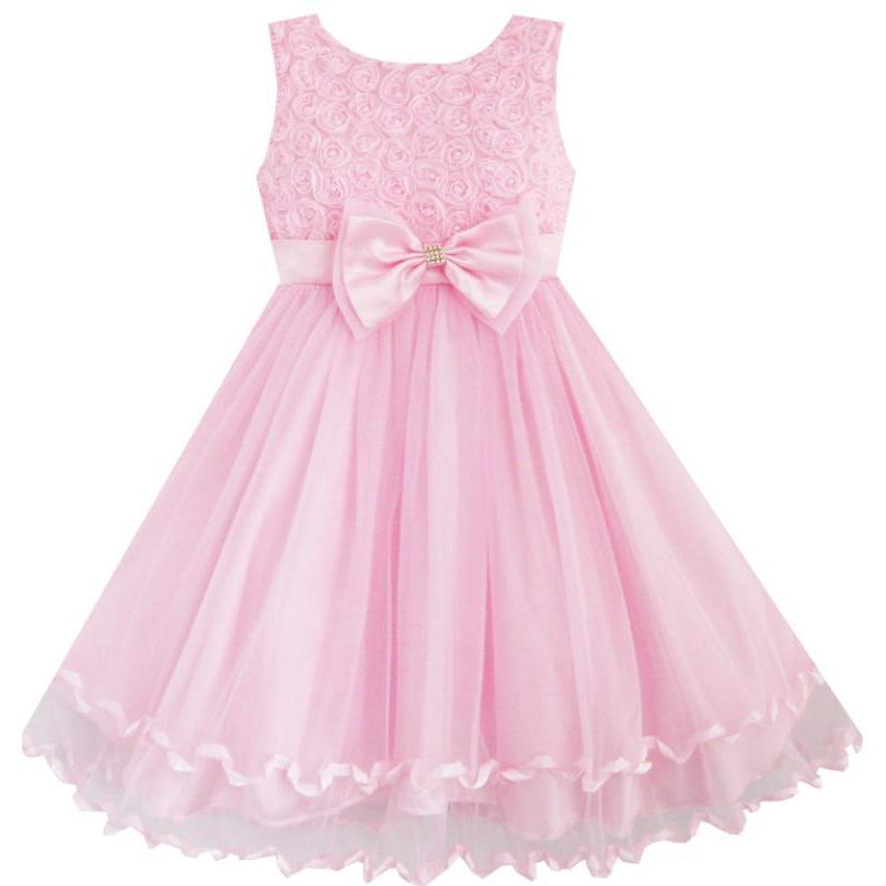 Sunny Fashion Vestir a las niñas Pink Rose Pajarita la fiesta de ...