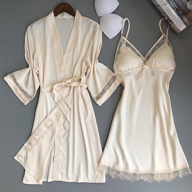 Sexy Women Rayon Kimono Bathrobe WHITE Bride Bridesmaid Wedding Robe Set Lace Trim Sleepwear Casual Home Clothes Nightwear 2