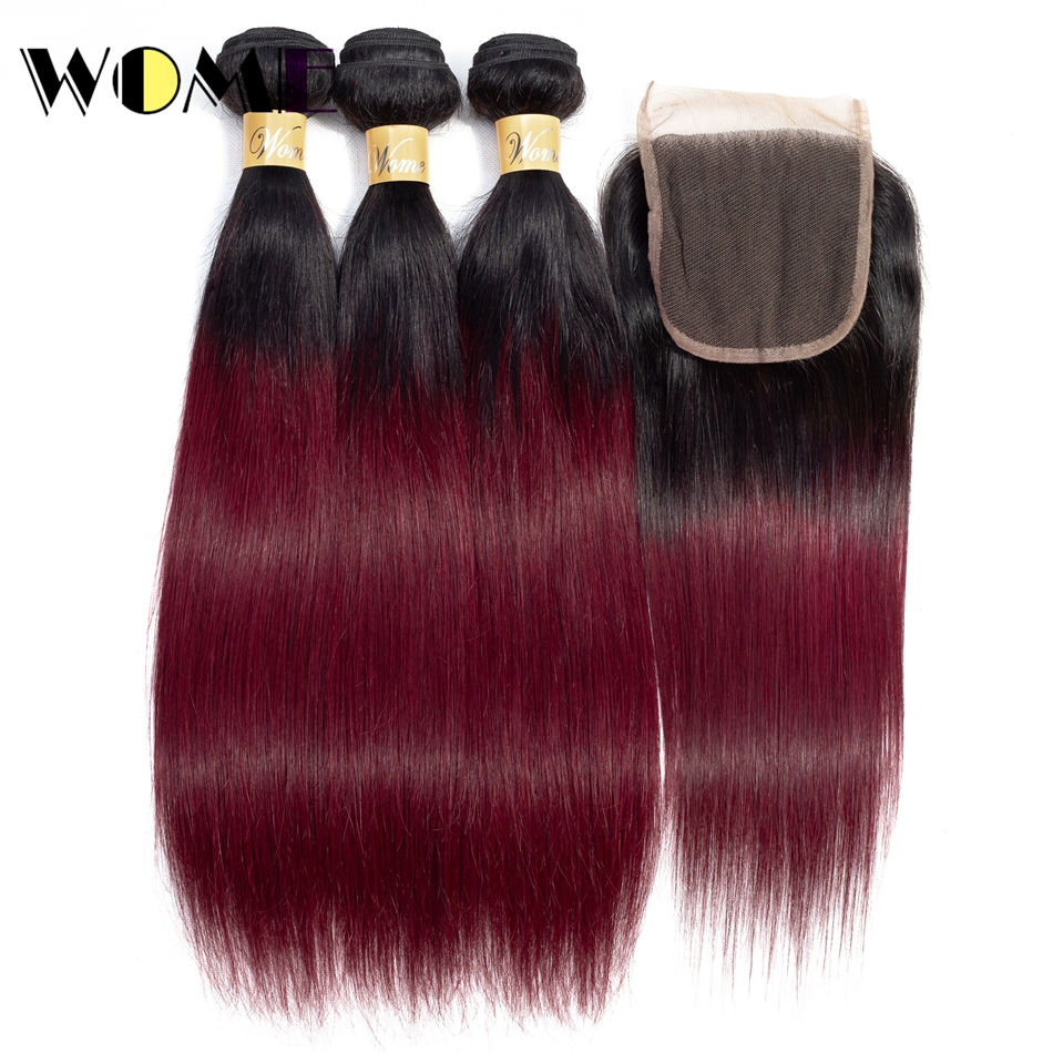 Wome Hair Human Hair Bundles with Closure Indian Hair Bundles with Closure Pre-colored 1b 99j Red Ombre Straight Weave Non-remy