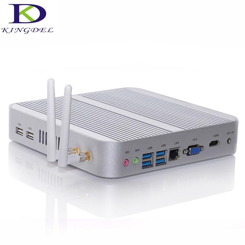 Kingdel Fanless Mini Industrail PC,HTPC, NUC With Intl I5-4200U CPU,16GB RAM+256GB SSD,HDMI+VGA,4*USB3.0,WiFi,Win 10,Metal Case