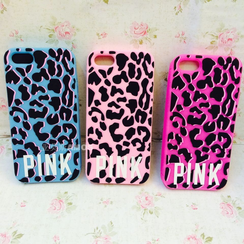 PINK Brand Leopard Victoria/'s Secret Love Pink Silicone Case Cover For Apple iphone 5 5s 5g,Free Shipping 100pcs/lot