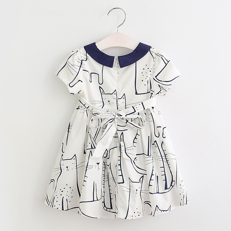 Keelorn Girls Dress 2018 Summer New Style Girls Clothes Children Clothing Cute Cat Print Solid Bow Voile Princess Dress for3-7Y