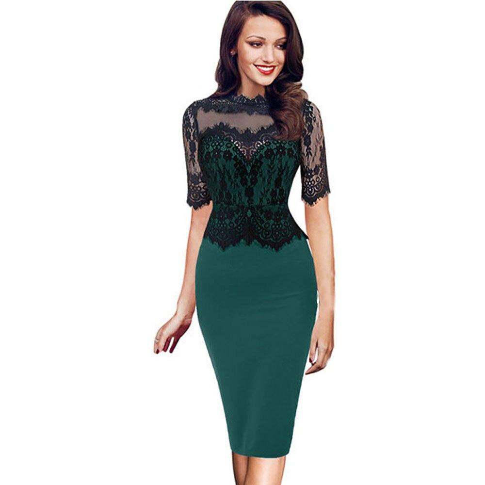 Dress Women summer 2018 lace plus size long elegant FEMALE ladies sexy formal Vintage Bodycon Pencil Evening Party black F5