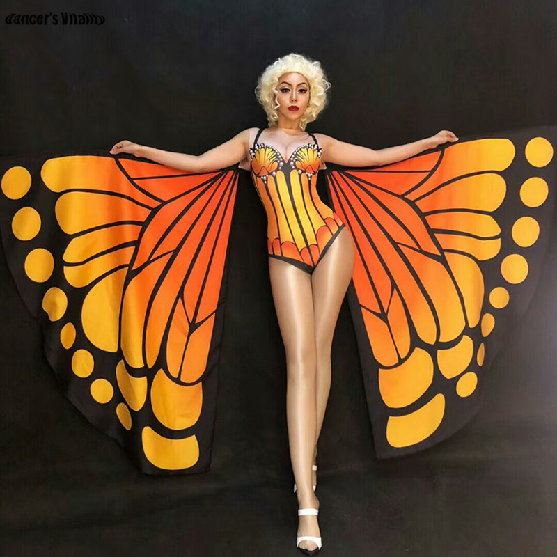 Butterfly wings printing Bodysuit Women Stage Dance Leotard Nightclub Party Female Singer Costume Celebrate Outfit costumes