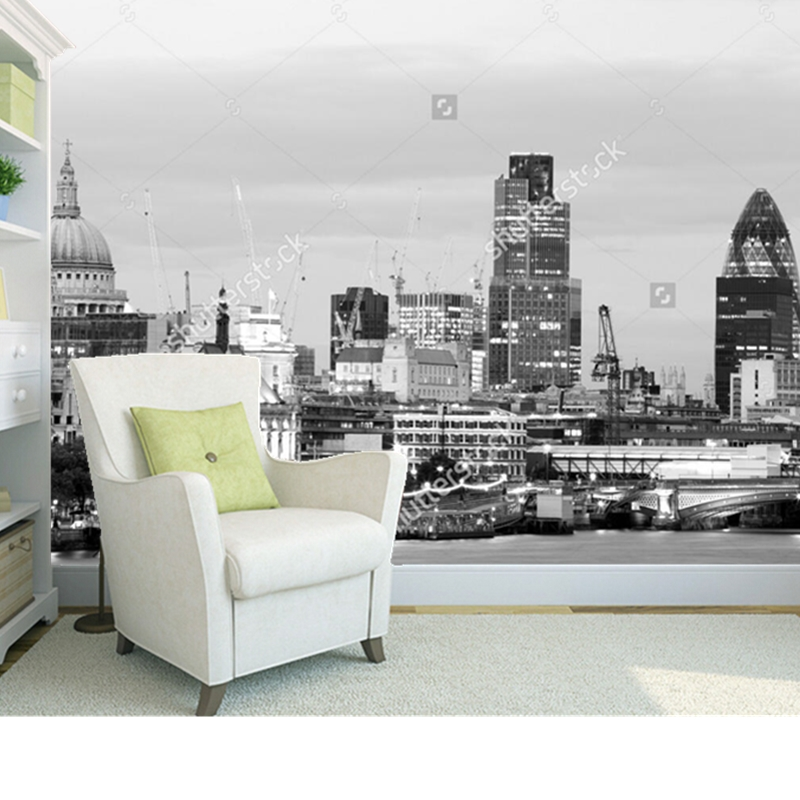 Custom 3 d photo wallpaper, London Greyscale Cityscape is used in the sitting room the bedroom TV setting wall papel de parede sitemap 48 xml