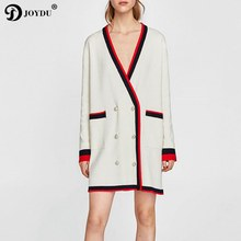 JOYDU Runway Long Cardigan Female 2018 Color Block Double Breasted Pearls  V-neck Fashion Knitted Sweater Jumper Knitting Dress 3256ddf120bc