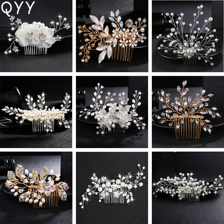 Classic Flowers Austrian Crystal Handmade Hair Combs Clips Wedding Accessories Jewelry Bridal Hairpins Headpieces