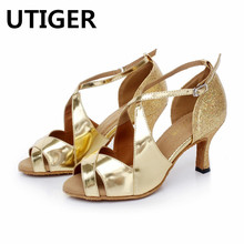 Women s Satin Latin Dance Shoes Gold Silver Salsa Party Square PU Soft Sole  7.5cm 1bf5331bae3c