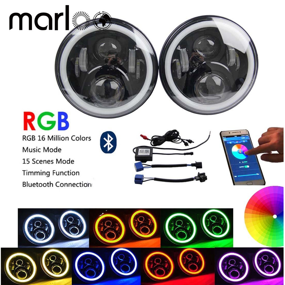 Marloo Wrangler JK CJ 7inch RGB DRL Halo Ring Round LED Headlights Angel Eyes with Multicolor Bluetooth Remote Control for Jeep 6