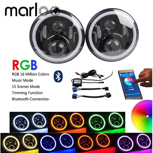 Marloo Wrangler JK CJ 7inch RGB DRL Halo Ring Round LED Headlights Angel Eyes with Multicolor Bluetooth Remote Control for Jeep