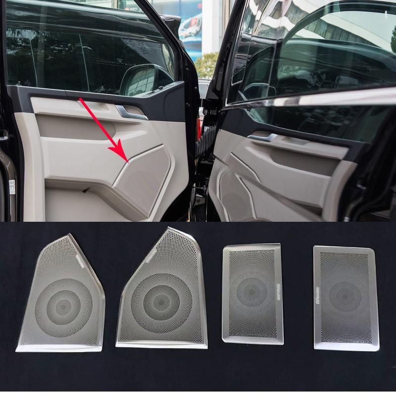 For VW Volkswagen Transporter T6 Caravelle 2017 2018 Stainless Steel Car Door Audio Speaker Decorative Cover Trim 3D Sticker