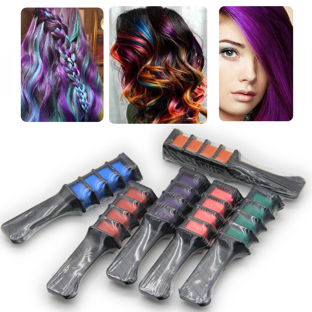 6 Piece/Set Mini Instant <font><b>Hair</b></font> <font><b>Chalk</b></font> <font><b>Comb</b></font> <font><b>Shimmer</b></font> Temporary <font><b>Hair</b></font> Dye Color Cream for Party Fans Cosplay DIY Crayons Styling Kit
