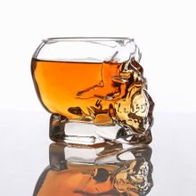 3D tea cup Transparent Creative Skull Shot Glass Crystal Head Cup for Whiskey Home Bar tea cup(China)