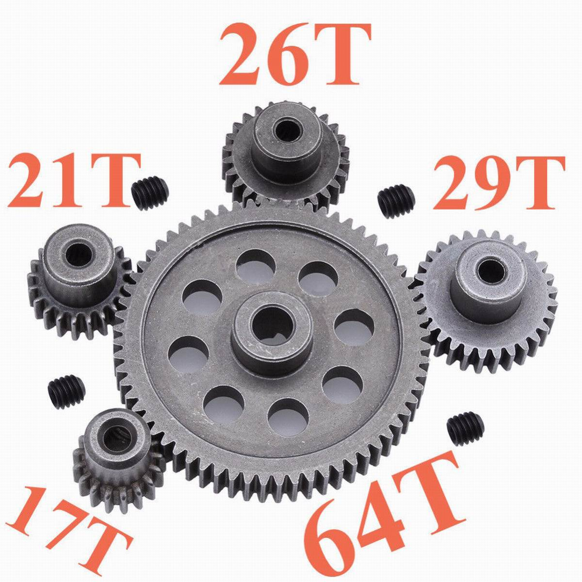 11184 Steel Metal Spur Diff Main Gear 64T Motor Pinion Gears 17T 21T 26T 29T 11189 11176 11181 11119 for RC HSP Redcat RC Truck front gear box housing complete set drive & diff gear for redcat hsp 1 10 rc car parts 02024 02051 02030