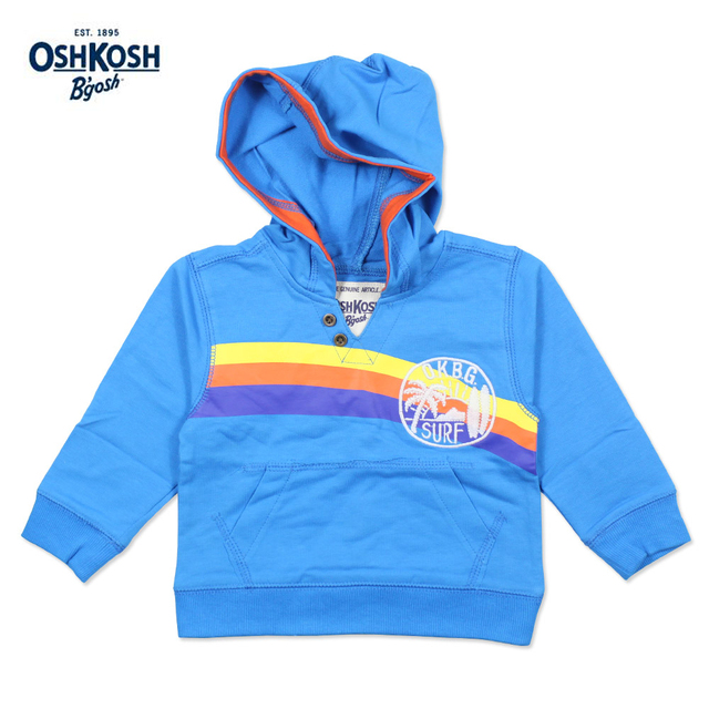 Meney/OshKosh 2017 Весной Детская Одежда для Отдыха Blue Rainbow Толстовки Дети Мальчики 100% Хлопок Повседневная Surf С Капюшоном ребенок