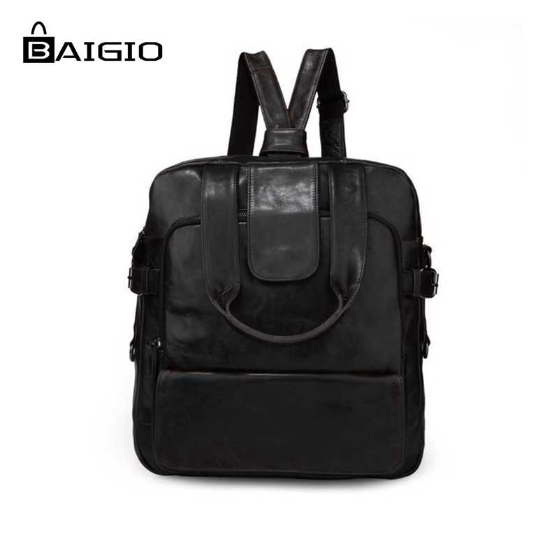 Baigio New Men Backpacks Genuine Leather Backpacks Sale Black Style Fashion School Bags Laptop Designer Rucksacks Bags Bolsas 3 28 sale price 2016 new designer brand fashion black genuine leather women s backpacks preppy style women backpack bolsas mochi