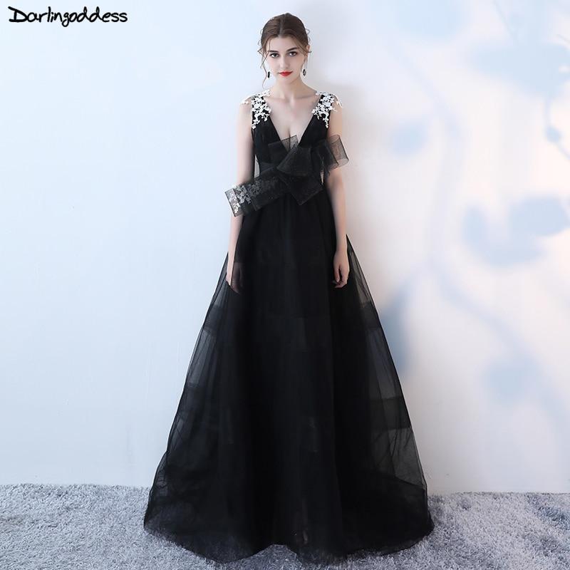 Vestido De Festa Elegant Black Deep V Neck Evening Dress 2018 Formal ...