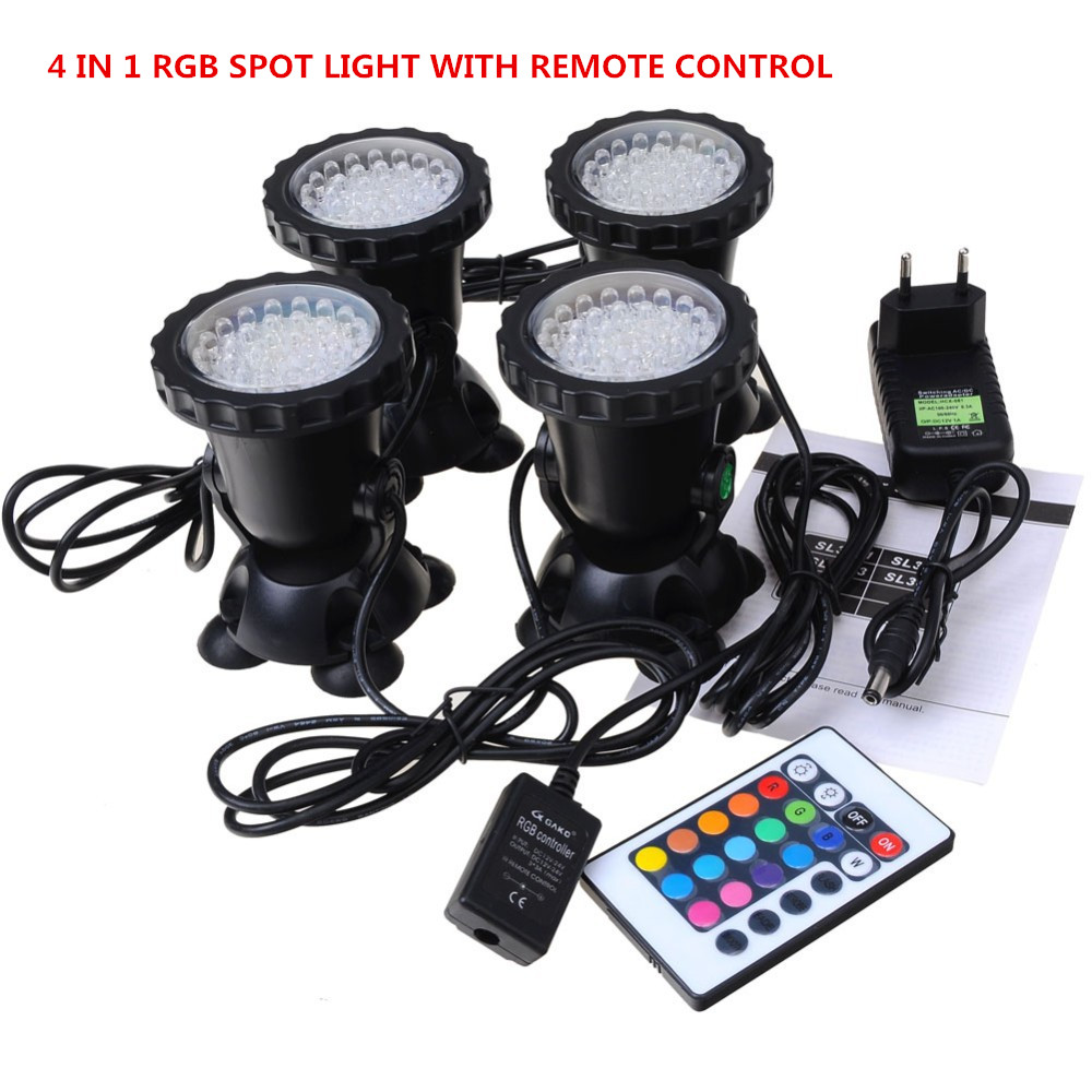 4 in 1 36LED RGB Underwater Lamp Spot Light for Water Garden Fish Tank Pond Fountain Aquarium led lighting  with Remote Control free shipping new 220v ylj 500 500l h 8w submersible water pump aquarium fountain fish tank power saving copper wire