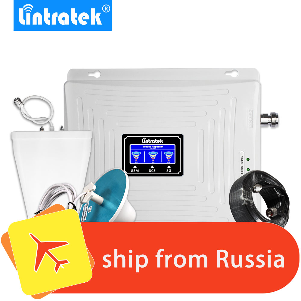 Lintratek Cell Phone Signal Booster 2G 3G 4G Tri Band Mobile Cellular Booster Repeater 900MHz 2100MHz 4G LTE 1800MHz Whole Set .
