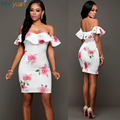 2017 mulheres fora do ombro vestido de verão dress floral imprimir club party sexy vestidos auto retrato do vintage elegante mini bodycon dress robe