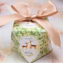 50box+50ribbon New Style Sika deer pattern diamond candy box wedding candy box forest fresh series candy gift box Party Supplies