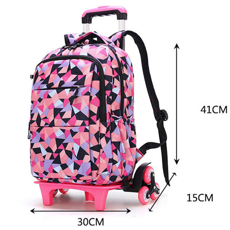 Hot Sales Removable Children School Bags with 2/6 Wheels for Girls Trolley Backpack Kids Wheeled Bag Bookbag travel luggage-in School Bags from Luggage & Bags    3