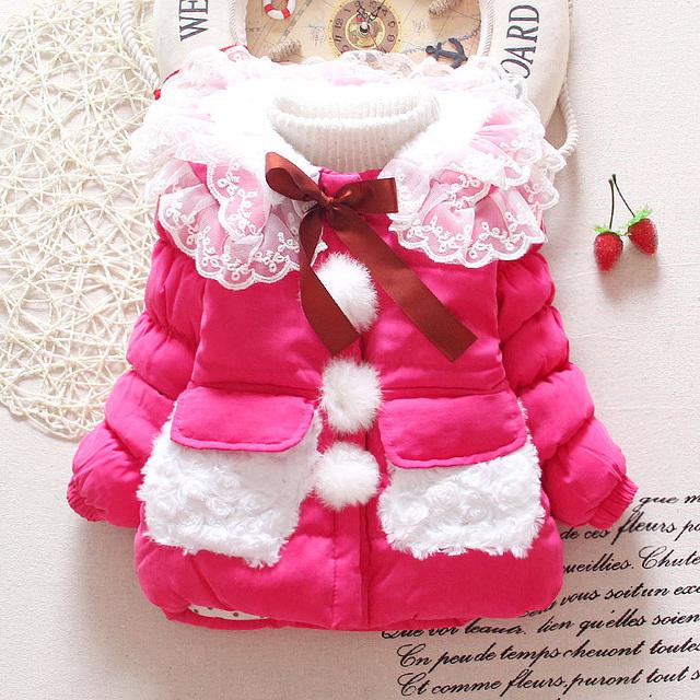 2015 Nuevo Bebé ropa de invierno dan vuelta-abajo de color sólido rosa rosa amarillo baby girls abrigos nieve desgaste A243