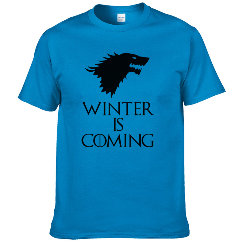2017 summer short sleeve game of thrones printed   T  -  shirt   casual cotton winter is coming wolf   t     shirt   men cool tees tops #255