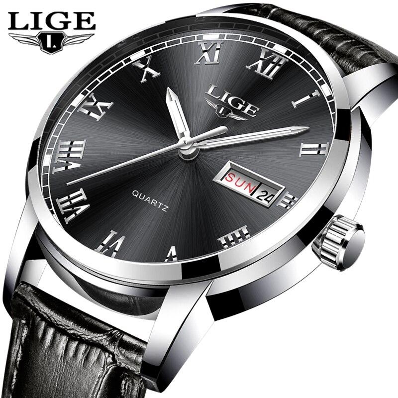 LIGE Watch Men Luxury Brand Waterproof Military Watches Men s Leather Strap Fashion Casual Sports Quartz
