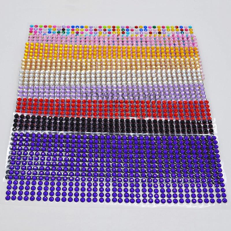 504Pcs / készlet 6mm DIY matrica akril strasszok öntapadós ragasztó matricák telefon tok / PC dekoráció művészet DIY kézműves dekoráció 7Z