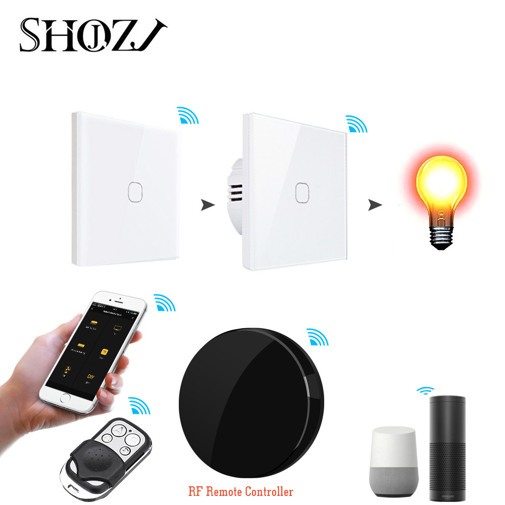 Smart Touch Switch RF 433 Remote Control Wall Switch 1/2/3 Gang Light Switch For Home And Hotel