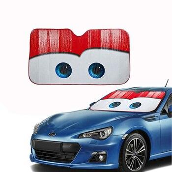 WESHEU Janela Folhas Olho Dos Desenhos Animados Pixar Aquecida Janela Windscreen Windshield Carro Pára Capa Sun Sombra Auto Pala de Sol Do Carro-cobre