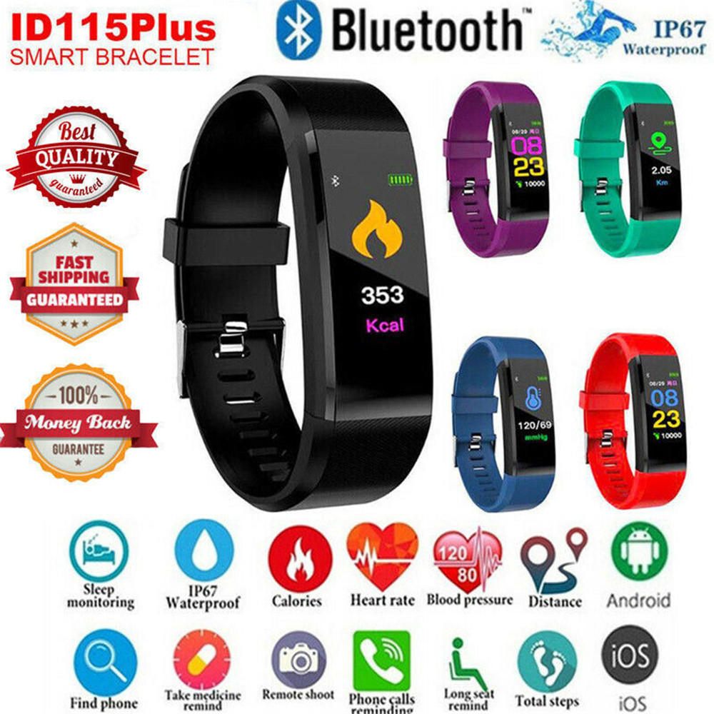 Image 2 - 115 Plus Smart Watch Bracelet Health Heart Rate Blood Pressure Fitness Tracker Wristband Monitor Sport band for ios android-in Smart Wristbands from Consumer Electronics
