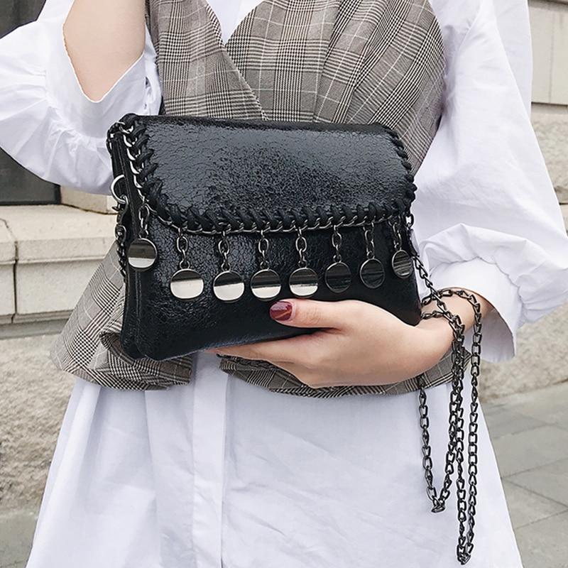 8013aefbba9d Vintage mini Women Message Bags Shiny Ladies Clutches purse Chain flap crossbody  Bag tassel Shoulder bag Handbags black bolsas