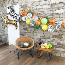 Jungle Birthday Party Latex Balloons Decor Tiger Lion Money Animal Theme Foil Balloon Balony Zoo Safari Favor
