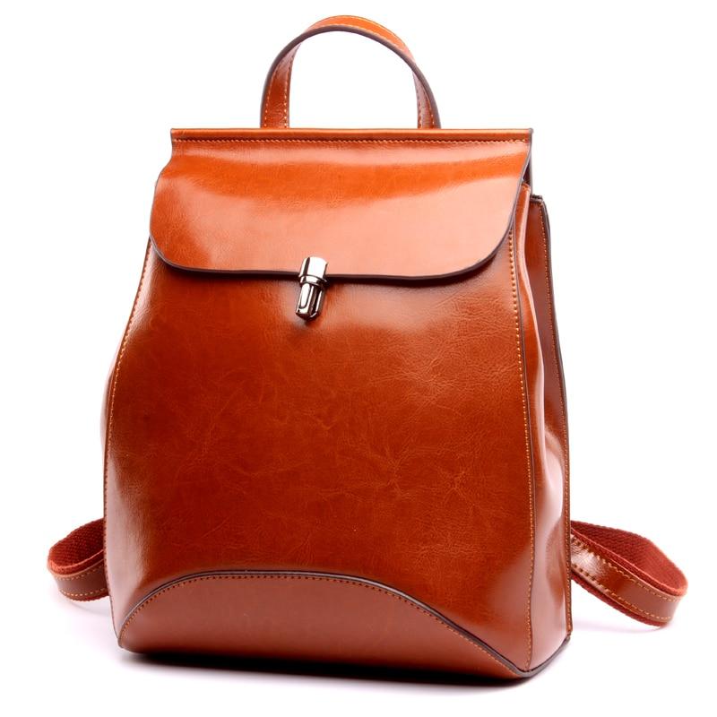 CHISPAULO 2017 Genuine Leather backpack women bag oil wax cow leather vintage backpacks Female back pack casual shoulder T315