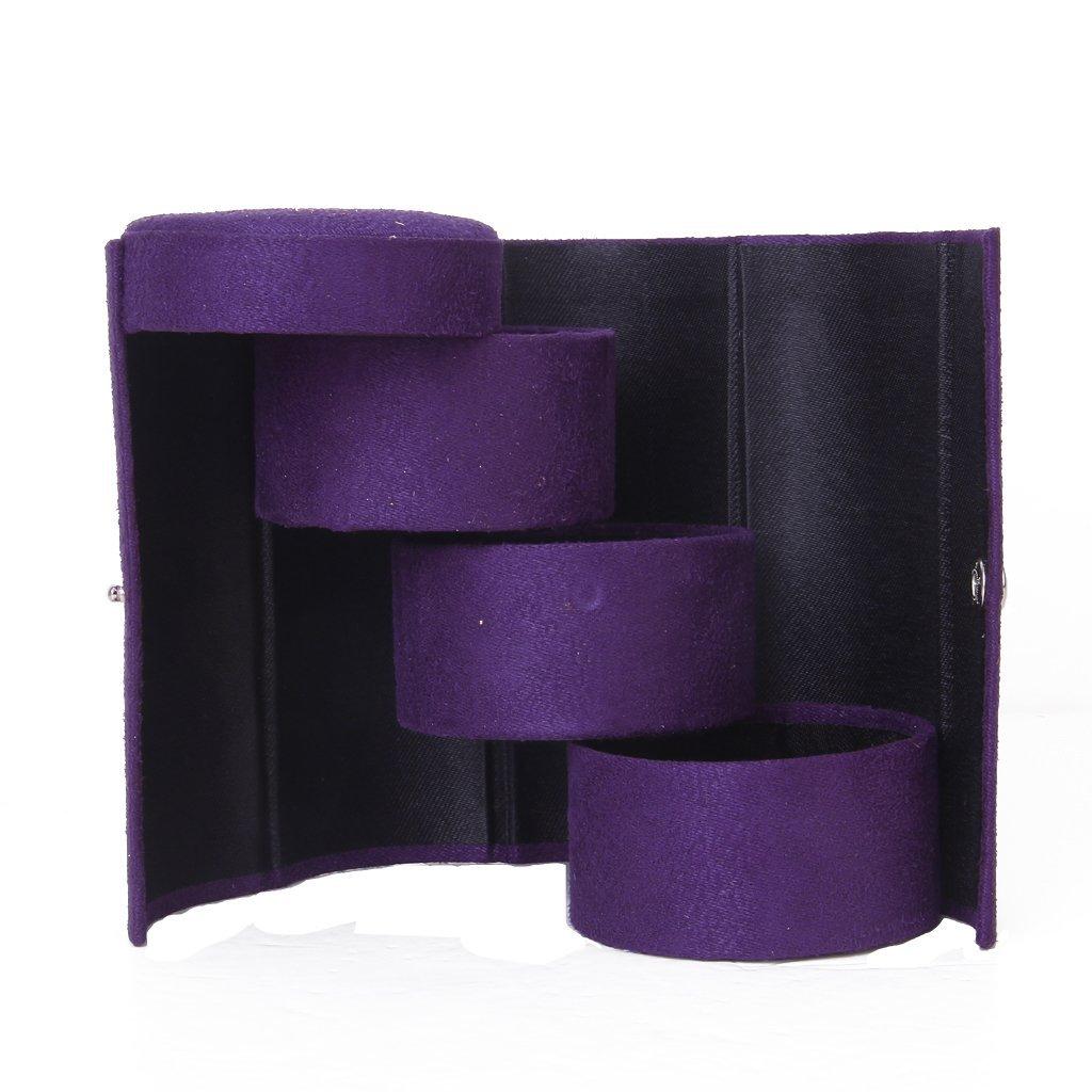 boite de rangement des anneaux boucles d 39 oreilles a trois couches en forme de cylindre pourpre. Black Bedroom Furniture Sets. Home Design Ideas