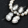 4Pair/lot Silver Plated Two Natural Pearl Paved Zircon Stud Earrings Jewelry for Women JAB171