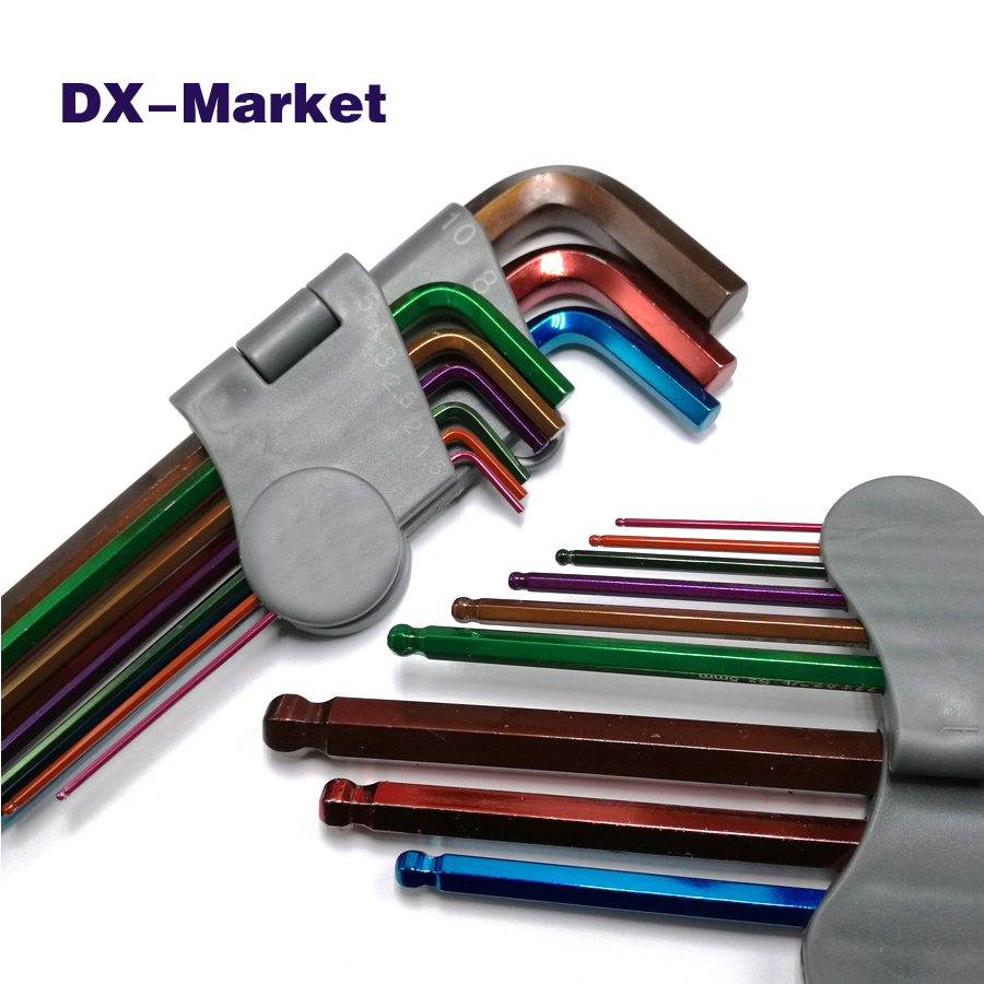 multicolor ball end hex key set , Metric Long Ball Ended Hex Allen Key wrench set , 1.5mm-10mm chrome molybdenum steel tools 1pcs industrial grade long ball hex wrench hand tools 12mm