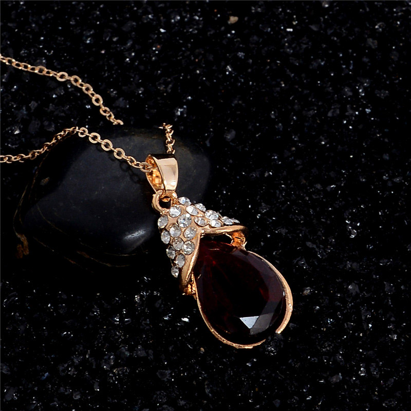 H:HYDE Red Jewelry Set CZ Zircon Vintage Necklace Earrings Fashion Gold Color Fine Crystal Women Wedding Party Jewelry bijoux