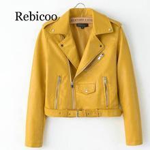 2019  Bright Yellow Women PU Leather Jackets Zipper Coat Turn-down Collar Female Black Color