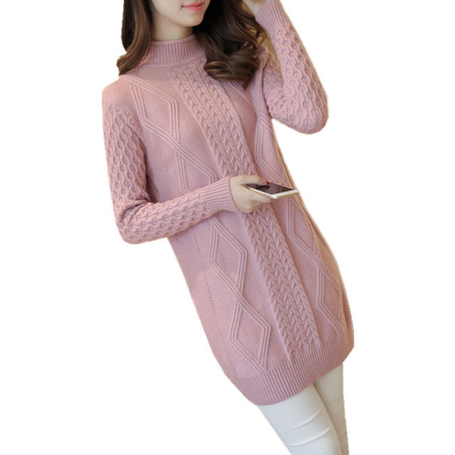 8467cf9baad Long Knitted Sweater Women Winter Turtleneck Sweaters 2018 Solid Long  Sleeve Pullover Tops Pull Femme Jumper Sweater Dress MY274