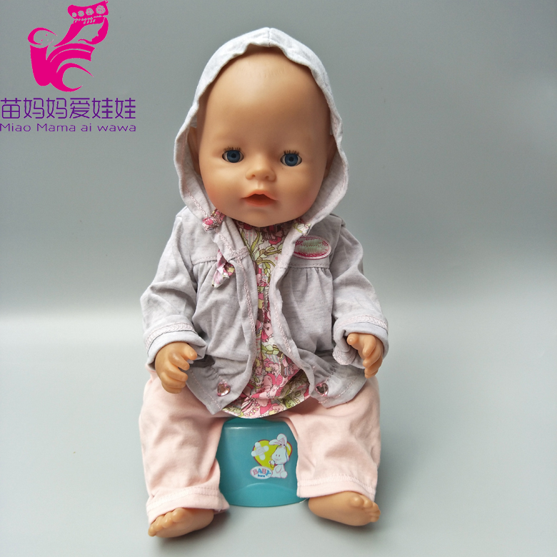 Dolls Hooded clothing Fits For 43cm Baby Born Zapf doll Baby jumpsuit outwear