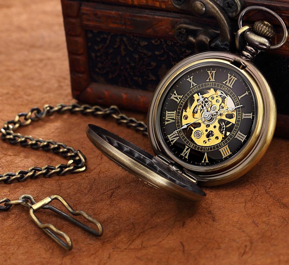Steampunk Mechanical Pocket Watch Men Retro Pendant Watch Chain Vintage Necklace Mechanical Hand Wind Clock Pocket Watch Gifts 19