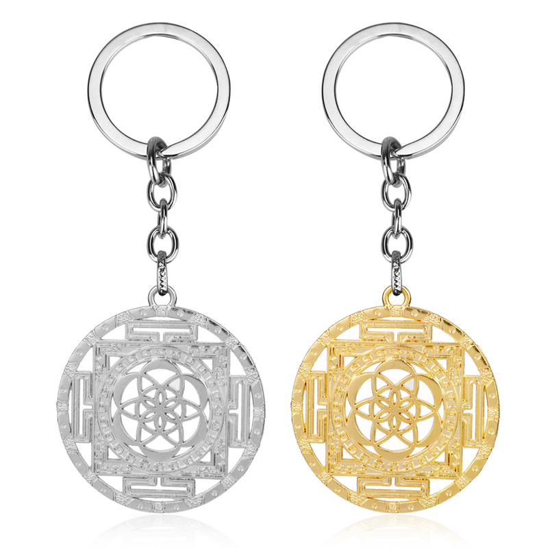 MQCHUN Flower of Life Keyring Tribal Geometry keychain Boho Fashion Silver Gold Color Key Chain Key Ring Handmade Jewelry