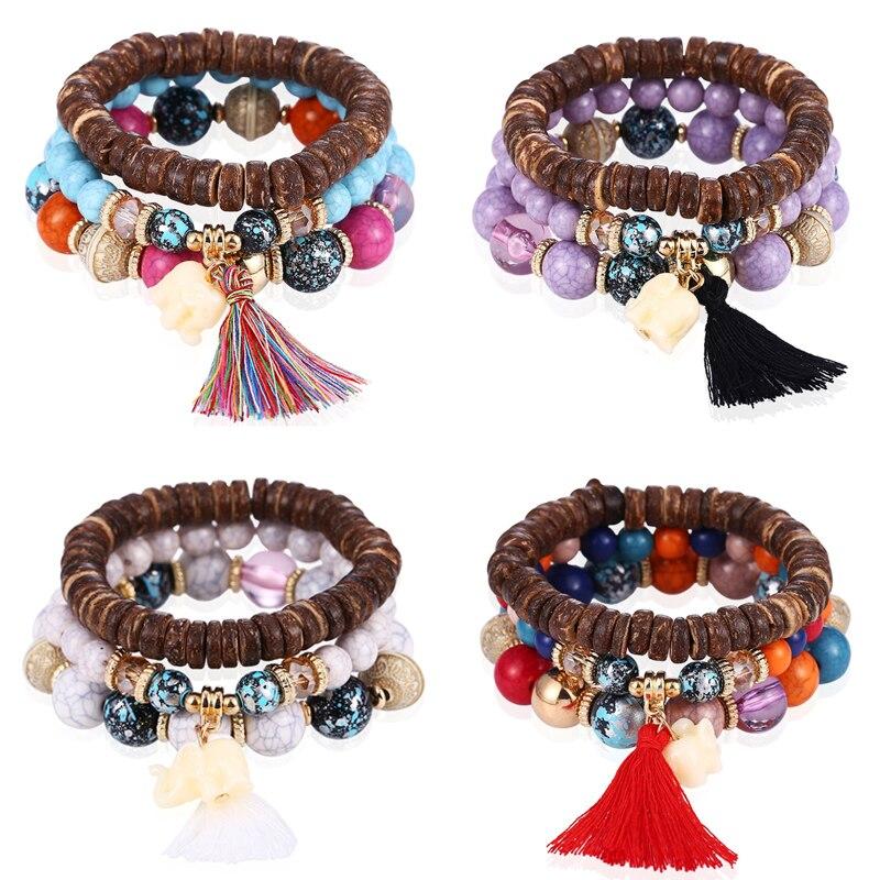 HOCOLE Bohemian Wood Bead Bracelets For Women Vintage Stone Tassel Multi-Layer Rope Bracelet Bangles Female Party Jewelry Gifts