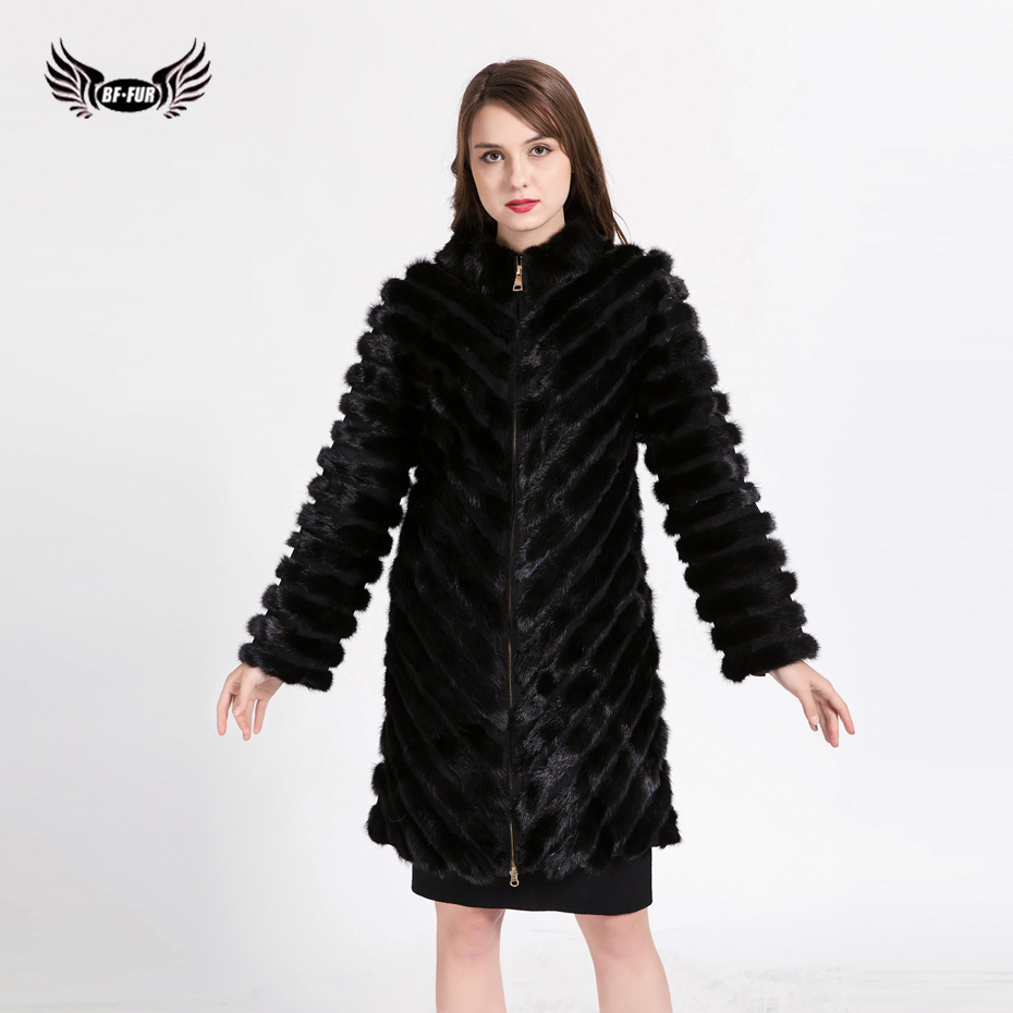 BFFUR Fashion Women`s Real Mink Fur Coats Thick Warm Customizable Winter Fur jacket Outwear Parka For Female Girls BF-C0502
