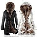 Nueva Moda de Invierno Las Mujeres Gruesas de Algodón Mezclado Damas Abrigo de Invierno Abrigo de Cuello Con Capucha de Manga Larga Outwear Jacket Wadded YF91