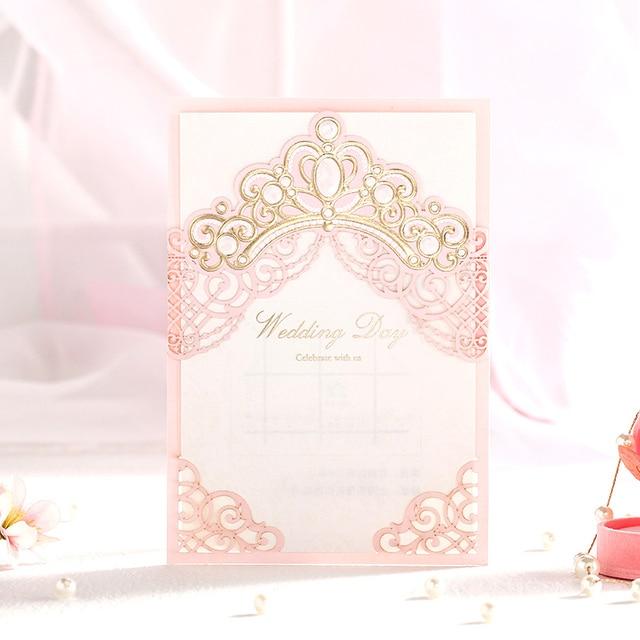 Laser cut rose couleur de mariage carte dinvitation avec or laser cut rose couleur de mariage carte dinvitation avec or couronne stopboris Gallery