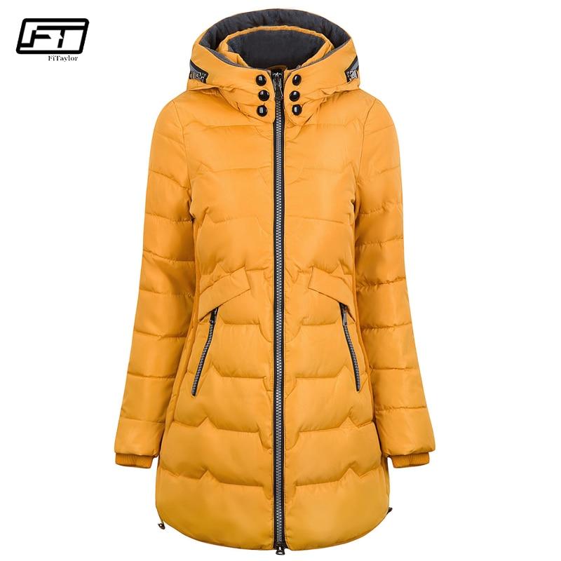 Fitaylor 2019 grande taille 6xl 7xl coton manteau longue hiver veste Parka femmes épais mince longue chaud à capuche rembourré Parkas femme